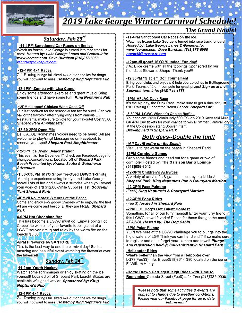 lake george winter carnival schedule